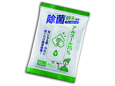 アルコール75%除菌ウェットシート10枚入